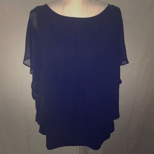 Style & Company Banded Black Blouse